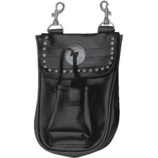 Leather Belt Loop Studded Bag With A Cell Phone Pocket