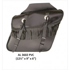 Medium Fringe Throw-Over Saddle Bag With Conchos In PVC